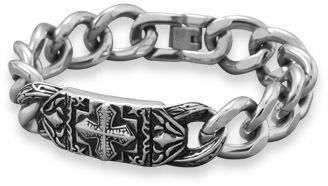 "9"" Stainless Steel Cross Design Mens ID Bracelet"