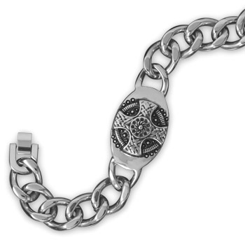 "9"" Stainless Steel Oval ID Cross Design Men's Bracelet"