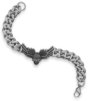 "9"" Stainless Steel Winged Skull Mens Bracelet"