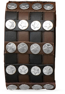 "7"" - 8"" Black and Brown Leather Mens Fashion Bracelet"