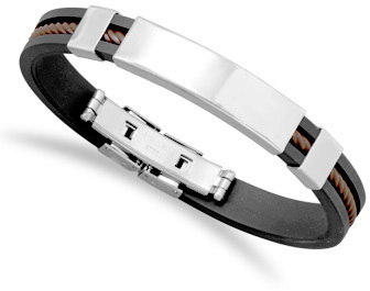 "8"" Black Rubber and Stainless Steel Mens ID Bracelet"