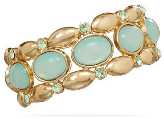 Mint Green Gold Tone Fashion Stretch Bracelet