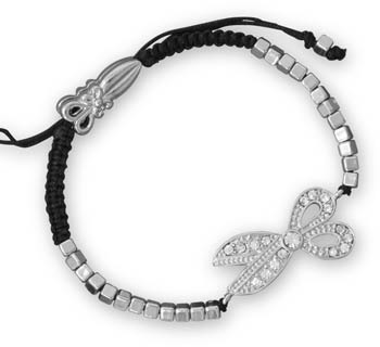 Adjustable Silver Tone Fashion Bracelet with Crystal Scissors Charm