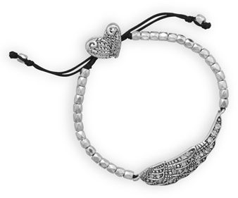 Adjustable Cord Fashion Bracelet with Crystal Angel Wing