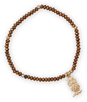 Bronze Color Fashion Stretch Bracelet with Owl Charm