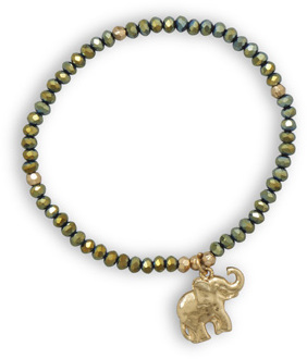 Green Fashion Stretch Bracelet with Elephant Charm