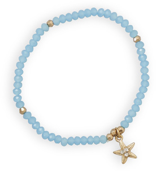 Blue Fashion Stretch Bracelet with Star Fish Charm