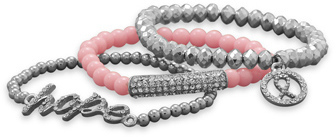 Pink Awareness Fashion Bracelet Set