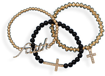 Black and Gold Tone Inspirational Fashion Bracelet Set