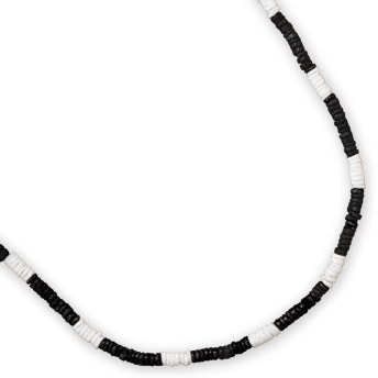 "20"" Black and White Shell Men's Fashion Necklace - DISCONTINUED"