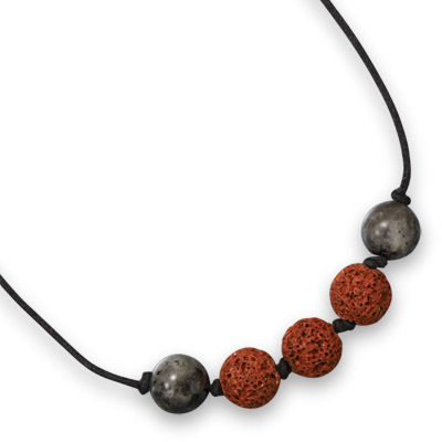 "23"" Labradorite and Lava Bead Men's Fashion Necklace"