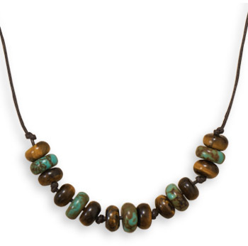 "22"" Tigers Eye and Turquoise Mens Fashion Necklace"