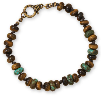 "8.75"" Tigers Eye and Turquoise Mens Fashion Bracelet"