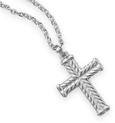 "22"" Stainless Steel Chain with Tungsten Cross Pendant"