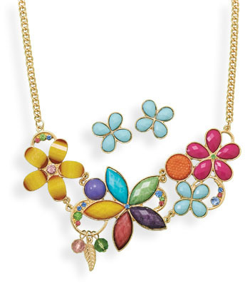 Multicolor Flower Fashion Necklace and Earring Set
