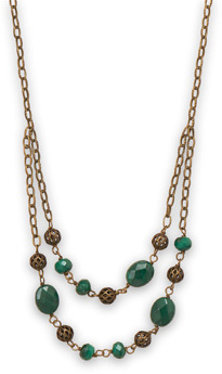 "18"" Brass Necklace with Malachite"