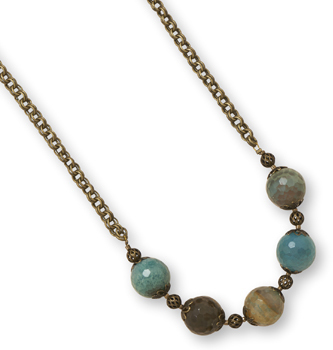 "16.5"" + 2"" Brass Necklace with Faceted Agate"