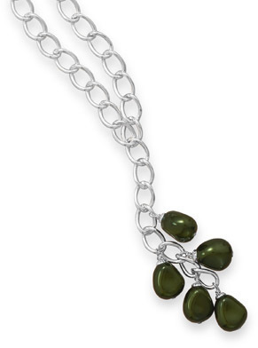"32"" Silver Tone Fashion Necklace with Green Glass Nuggets"