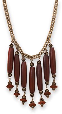 "16.5"" + 2"" Brass Necklace with Horn Beads"