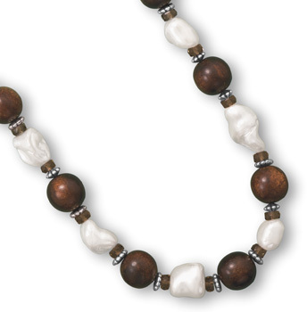 "16"" + 2"" Wood Bead and Shell Nugget Fashion Necklace"