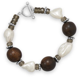 "8"" Wood Bead and Shell Nugget Fashion Toggle Bracelet"