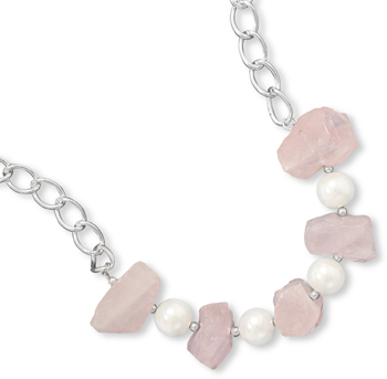 "17"" + 1"" Rose Quartz and Simulated Pearl Fashion Necklace"