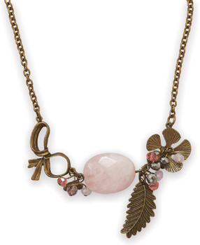 "18"" + 1.5"" Ornate Antique Brass and Rose Quartz Necklace"
