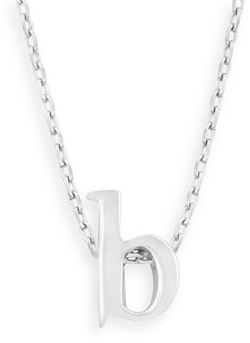 "16"" + 2"" Rhodium Plated Brass Initial ""b"" Necklace"