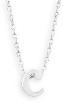 "16"" + 2"" Rhodium Plated Brass Initial ""c"" Necklace - DISCONTINUED"