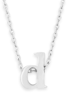 "16"" + 2"" Rhodium Plated Brass Initial ""d"" Necklace"