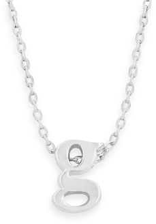 "16"" + 2"" Rhodium Plated Brass Initial ""g"" Necklace"
