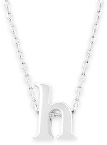 "16"" + 2"" Rhodium Plated Brass Initial ""h"" Necklace"