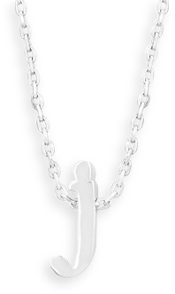 "16"" + 2"" Rhodium Plated Brass Initial ""j"" Necklace"