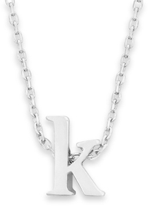 "16"" + 2"" Rhodium Plated Brass Initial ""k"" Necklace - DISCONTINUED"
