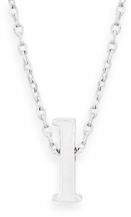 "16"" + 2"" Rhodium Plated Brass Initial ""l"" Necklace"