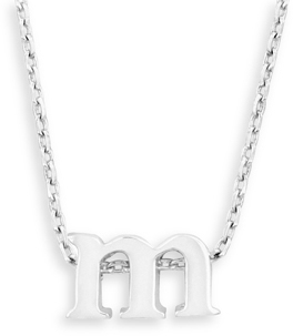 "16"" + 2"" Rhodium Plated Brass Initial ""m"" Necklace"