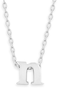 "16"" + 2"" Rhodium Plated Brass Initial ""n"" Necklace"