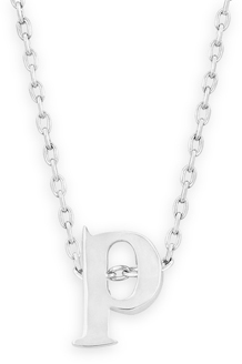 "16"" + 2"" Rhodium Plated Brass Initial ""p"" Necklace"