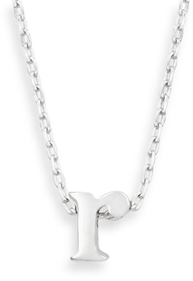 "16"" + 2"" Rhodium Plated Brass Initial ""r"" Necklace"