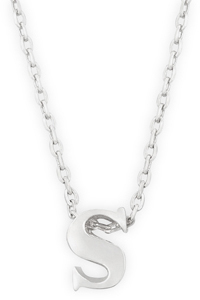 "16"" + 2"" Rhodium Plated Brass Initial ""s"" Necklace"