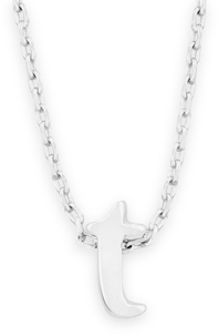 "16"" + 2"" Rhodium Plated Brass Initial ""t"" Necklace"