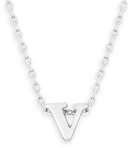 "16"" + 2"" Rhodium Plated Brass Initial ""v"" Necklace"