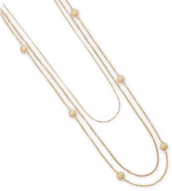 "24"" - 32"" Triple Strand 14 Karat Gold Plated Fashion Necklace - DISCONTINUED"