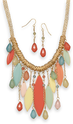 Festive Gold Tone Multicolor Dangle Fashion Set - DISCONTINUED