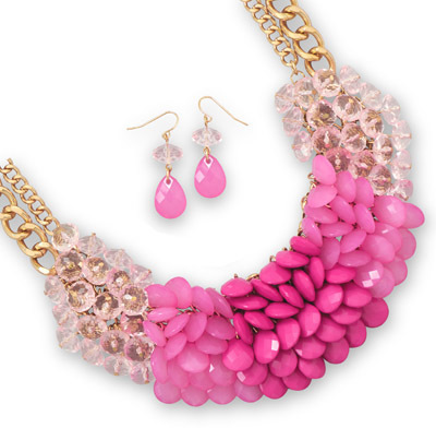 Gold Tone Pink Cluster Bead Fashion Set