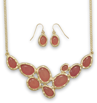 Gold Tone Orange Oval Fashion Set