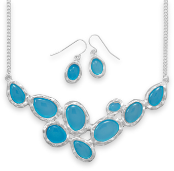 Silver Tone Blue Oval Fashion Set - DISCONTINUED