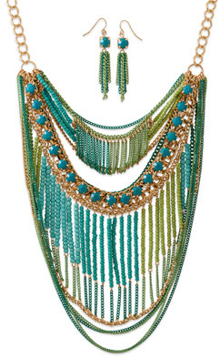 Gold Tone Blue and Green Bib Style Fashion Necklace Set - DISCONTINUED