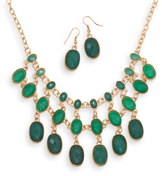 Gold Tone Green Bead Drop Fashion Set