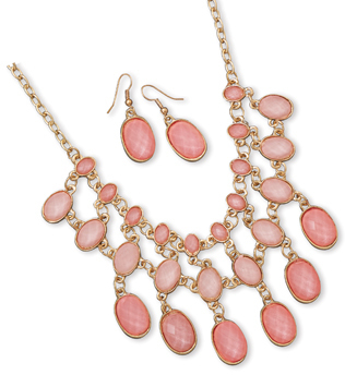 Gold Tone Pink Bead Drop Fashion Set